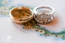 Wedding Rings on Map of Costa Rica