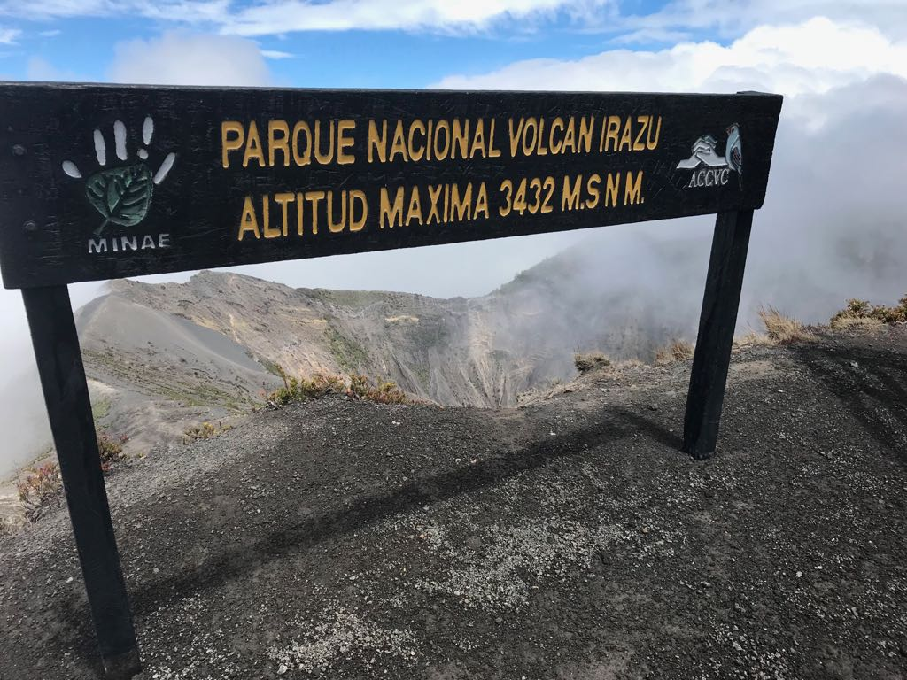 Irazu National Park Sign